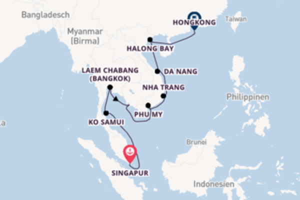Beeindruckende Kreuzfahrt über Laem Chabang (Bangkok) nach Hongkong