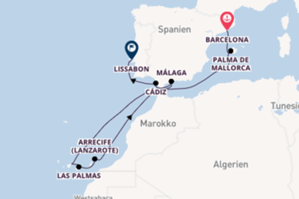 11-tägige Kreuzfahrt von Barcelona nach Lissabon