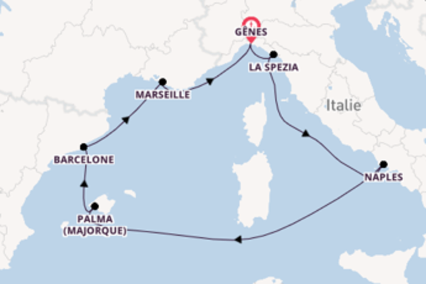 Belle croisière vers Gênes via Barcelone