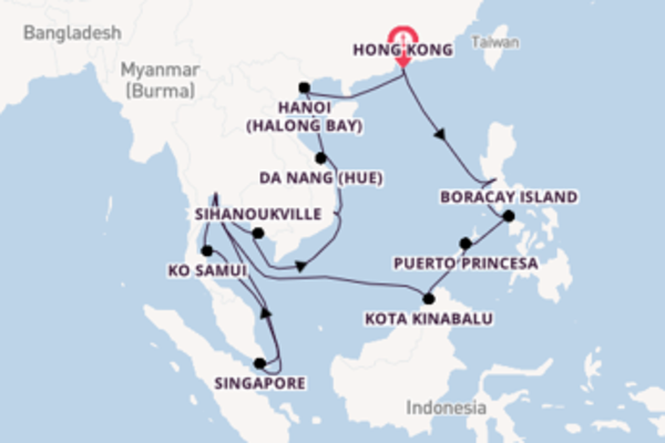27 day expedition on board the ms Noordam from Hong Kong
