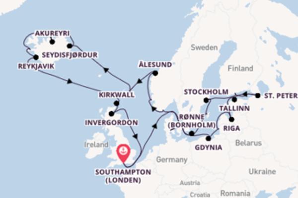 Geniet van een 31-daagse cruise naar Southampton (Londen)