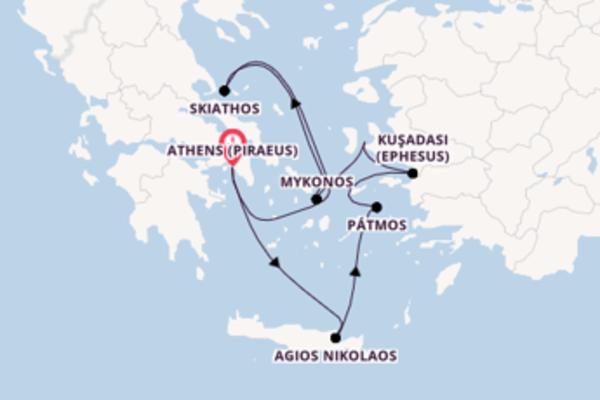 Einzigartige Kreuzfahrt über Mykonos nach Athens (Piraeus)