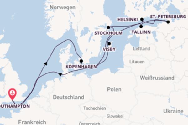 Von Southampton über Kopenhagen in 13 Tagen