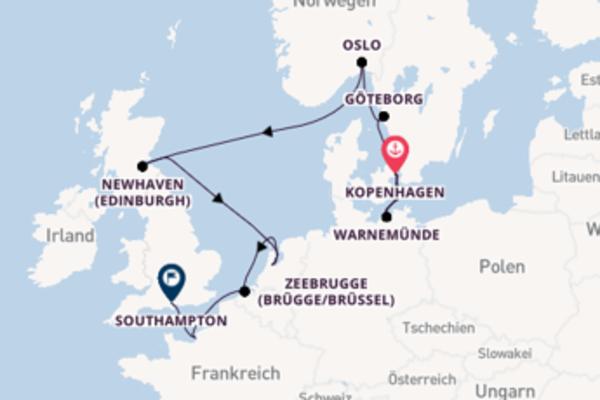 11-tägige Kreuzfahrt von Kopenhagen nach Southampton