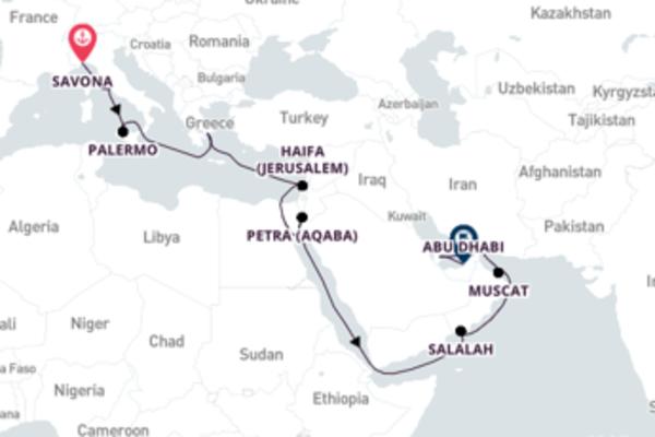 Traveling to Abu Dhabi from Savona with Costa Diadema