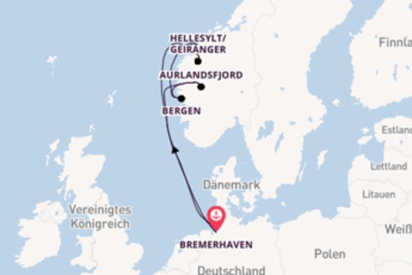 Von Bremerhaven, Deutschland über Geiranger, Norwegen in 8 Tagen