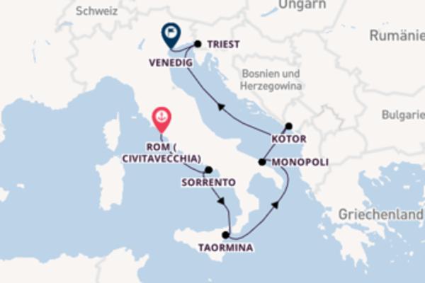 Beeindruckende Kreuzfahrt von Rom (Civitavecchia) nach Venedig