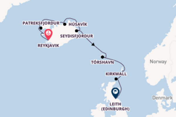 Voyage from Reykjavik to Leith (Edinburgh) via Tórshavn