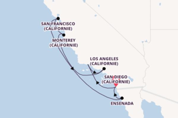 Monterey (Californie), depuis San Diego (Californie) à bord du bateau Koningsdam