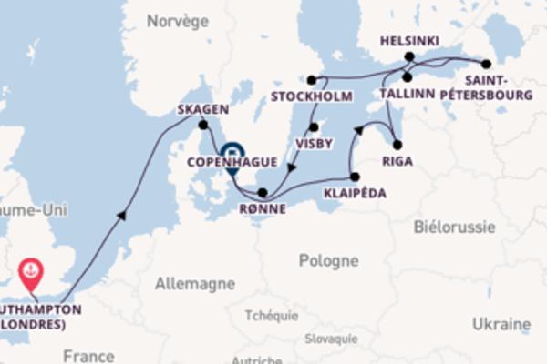 15 jours de navigation à bord du bateau Island Princess vers Copenhague