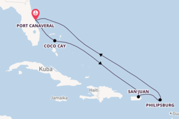 8-tägige Kreuzfahrt ab Port Canaveral