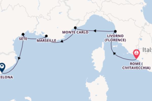 Sailing from Civitavecchia to Barcelona
