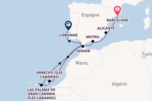 Lisbonne depuis Barcelone pour une croisière de 13 jours