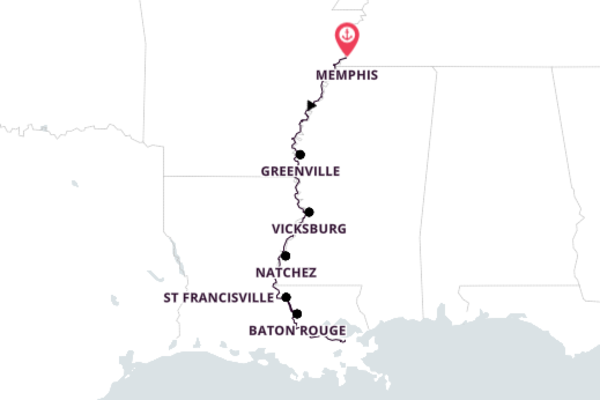 Sensational New Orleans from Memphis, Tennessee 9-Day Expedition