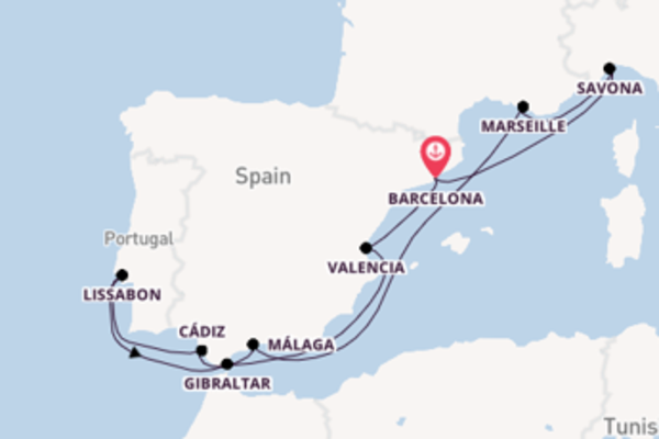 Zonovergoten cruise naar Spanje, Italië, Frankrijk & Portugal