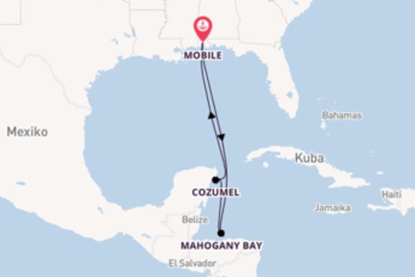 In 7 Tagen nach Mobile über Mahogany Bay