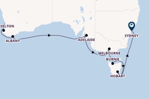 12-tägige Kreuzfahrt von Perth nach Sydney