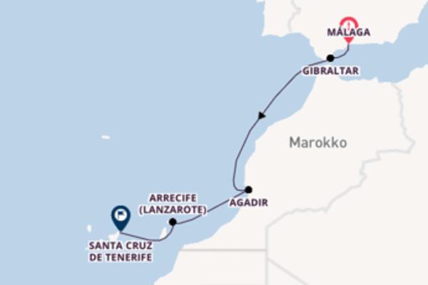 In 7 Tagen nach Santa Cruz de Tenerife über Arrecife, Lanzarote