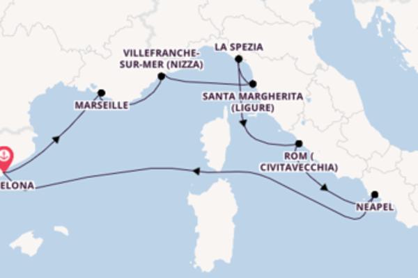 Großartige Kreuzfahrt über La Spezia ab Barcelona