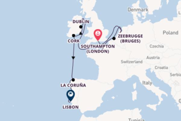 Sailing from Southampton (London) to Lisbon