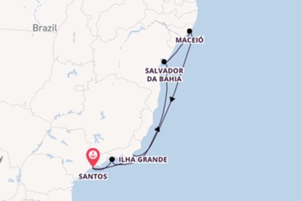 Vaar met het MSC Seaside naar Santos