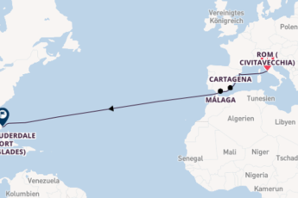 Civitavecchia (Rom), Cartagena und Fort Lauderdale (Port Everglades) entdecken