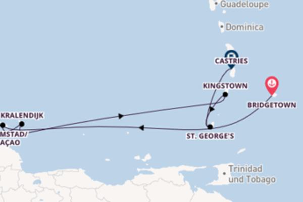 Kreuzfahrt mit Britannia von Bridgetown nach Castries
