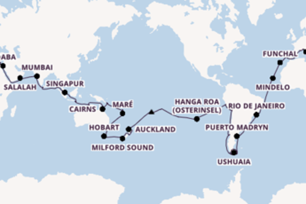 Weltreise mit MSC: 24 Länder in 117 Tagen