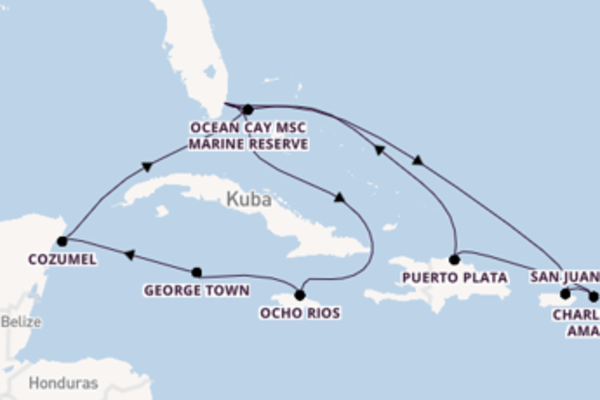15 Tage Karibik Kreuzfahrt