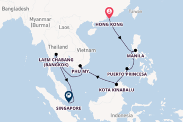 Journey from Hong Kong with the ms Noordam