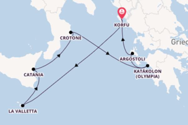 8-tägige Kreuzfahrt ab Korfu