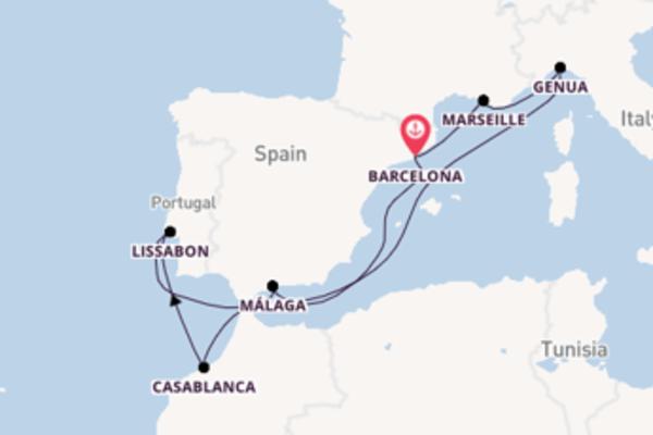 Ga mee op het MSC Splendida naar Barcelona