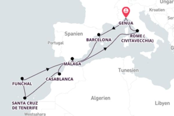 12 Tage Mittelmeer Kreuzfahrt