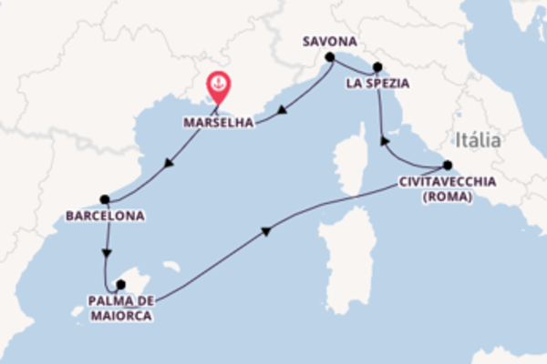 A bordo do Costa Smeralda em uma viagem de 8 dias