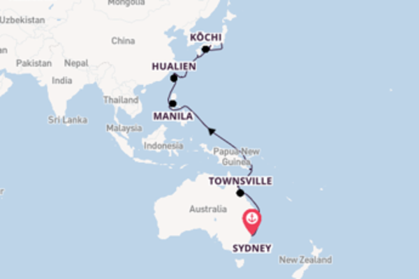 25 day voyage on board the Pacific Princess from Sydney