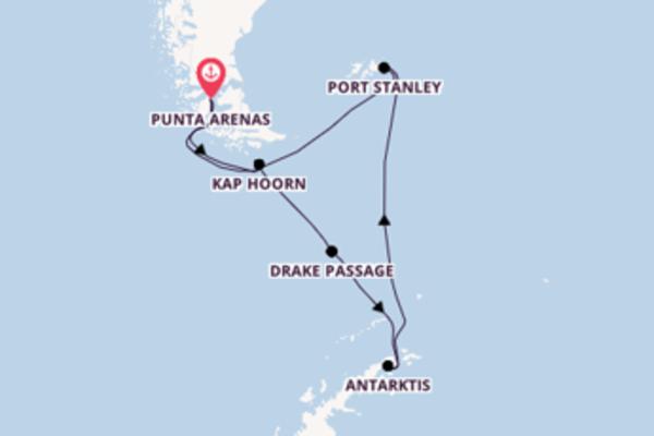 Santiago de Chile, Antarktis und Punta Arenas genießen