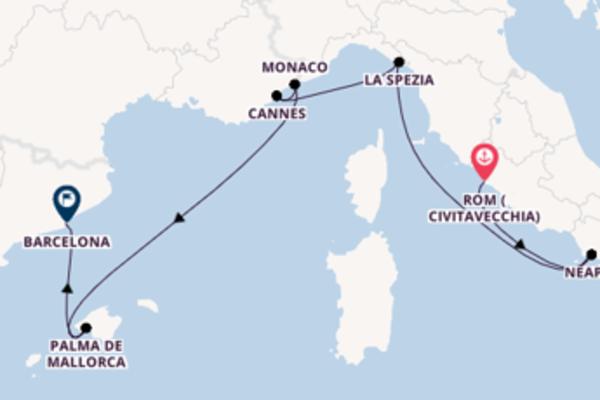 8-tägige Kreuzfahrt von Rom (Civitavecchia) nach Barcelona