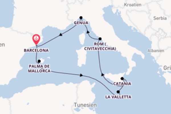 Bereisen Sie 8 Tage Civitavecchia und Barcelona