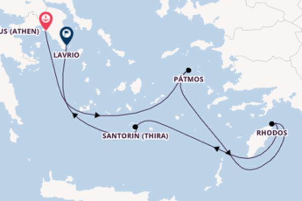 Von Piräus (Athen) über Rhodos in 5 Tagen
