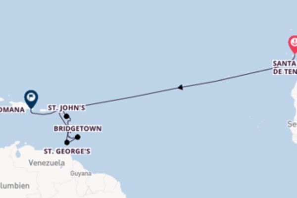 Kreuzfahrt mit AIDAperla von Santa Cruz de Tenerife nach La Romana