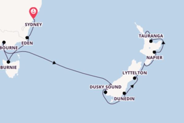 Spannende Kreuzfahrt von Sydney nach Auckland
