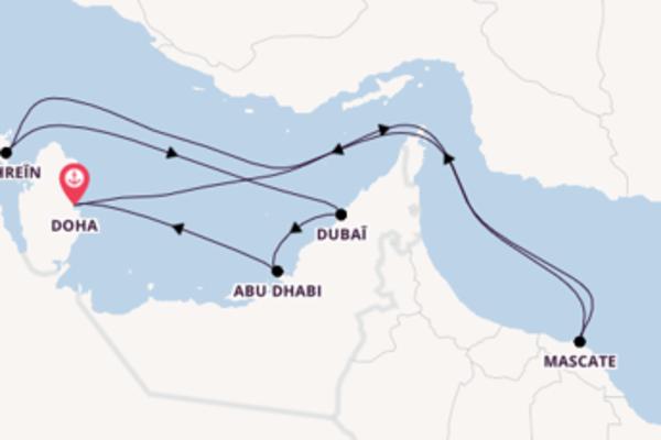 10 jours de navigation à bord du bateau Costa Smeralda vers Doha