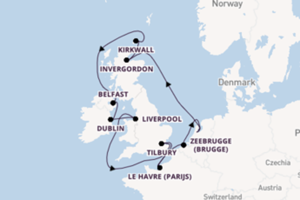 13-daagse cruise naar Dublin