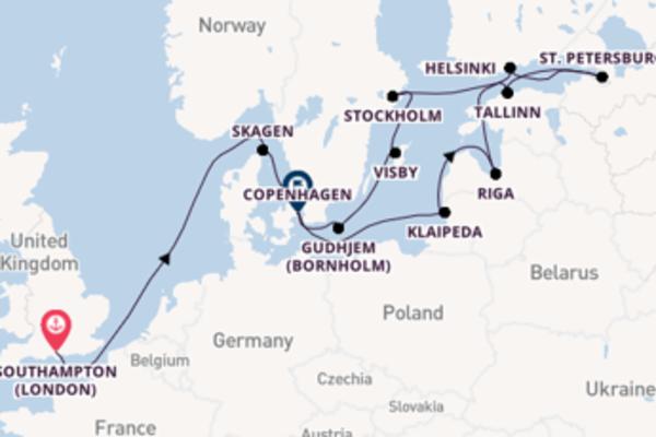 15 day cruise to Copenhagen from Southampton (London)