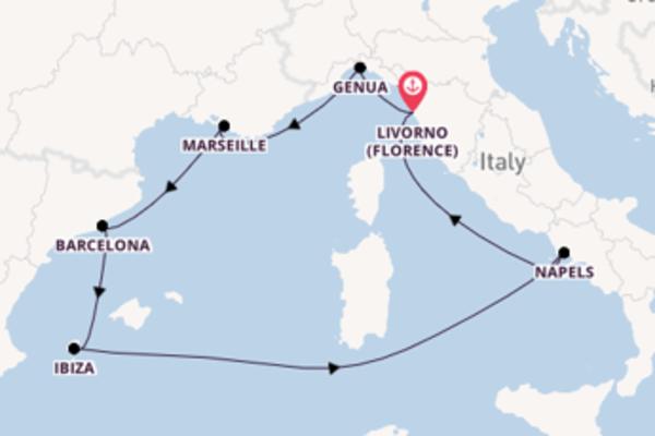 Cruise in 8 dagen naar Livorno (Florence) met MSC Cruises