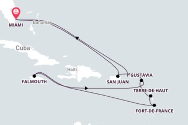 Jornada de 13 dias até Miami com o Seabourn Sojourn
