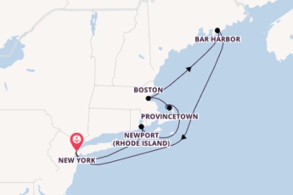 Provincetown, depuis New York à bord du bateau Crystal Serenity