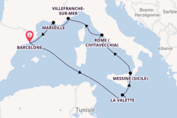 8 jours de navigation à bord du bateau Vision of the Seas depuis Barcelone