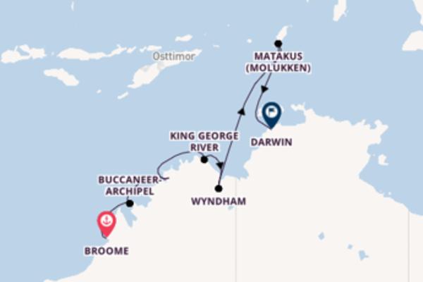 Wunderschöne Kreuzfahrt von Broome nach Darwin