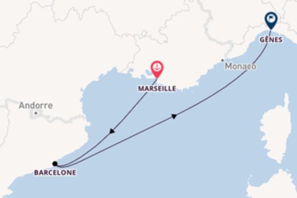 Dépaysante croisière vers Gênes via Barcelone